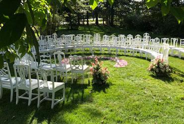 Wedding seating in the garden.